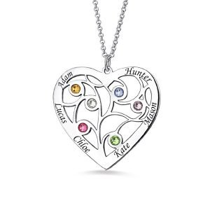 Heart Family Tree Necklace with birthstones