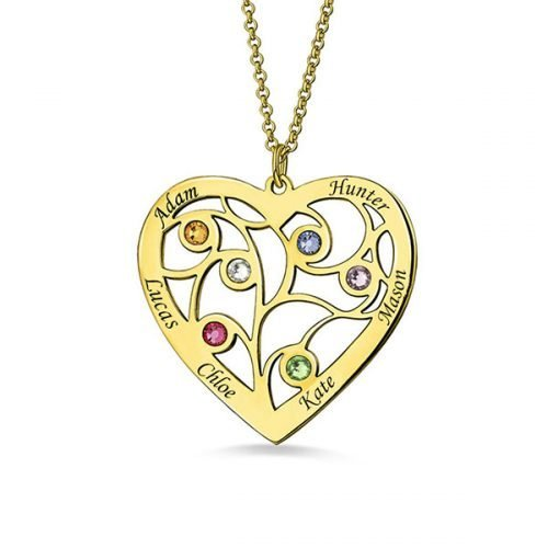 Heart Family Tree Necklace with birthstones in Gold Plating