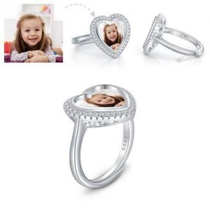 Adorable Custom Heart Photo Ring Sterling Silver
