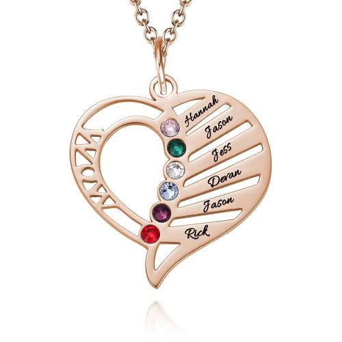 Engraved Mom Birthstone Necklace