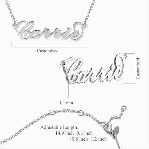 """Carrie"" Style Name Necklace Silver"