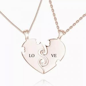 """True Love"" Couples Heart Necklace With Engraving Rose Gold Plated"