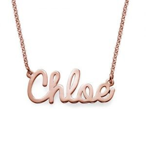 Cursive Name Necklace in Rose Gold Plating