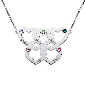 Engraved Five Hearts Necklace With Birthstones