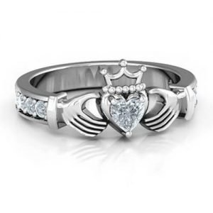 Classic Claddagh Heart Cut Ring with Accents