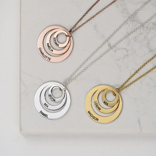 Three Disc Necklace in Sterling Silver