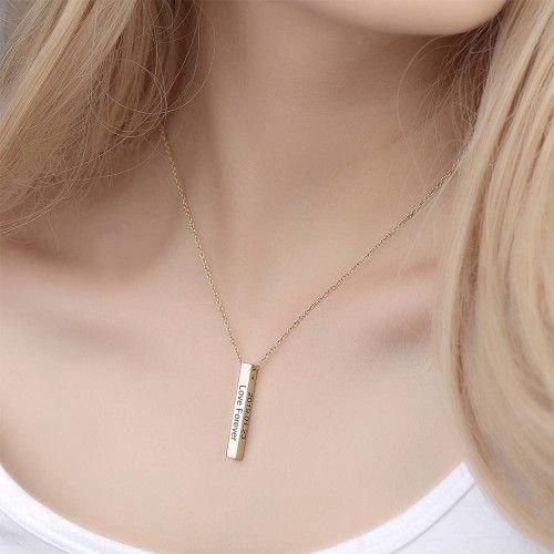 3D Engraved Bar Necklace in Sterling