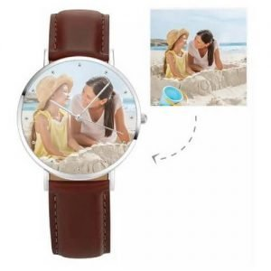 Unisex Photo Watch Brown Leather Strap
