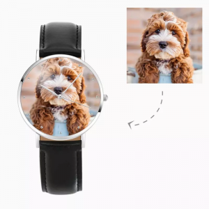 Womens Photo Watch Black Leather Strap