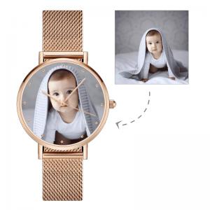 Womens Rose Gold Alloy Bracelet Photo Watch