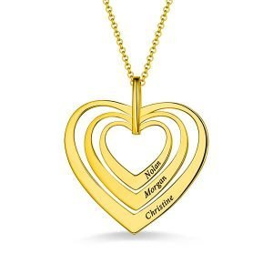 Family Hearts necklace in Gold Plating