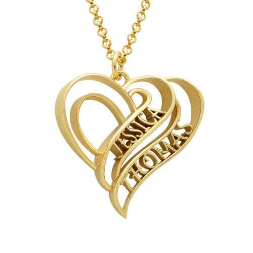 Personalized 3D Heart Necklace with Gold Plating