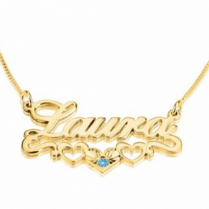 Gold Plated Name Necklace with underline Hearts